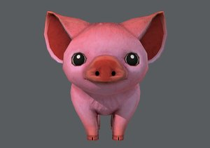 3D cartoon pig model