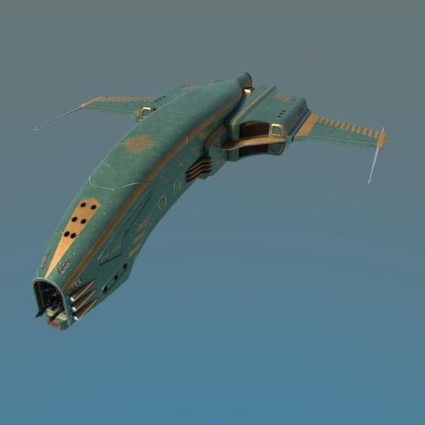 3D spaceship dagger type 1 model