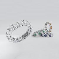diamond line ring 3D