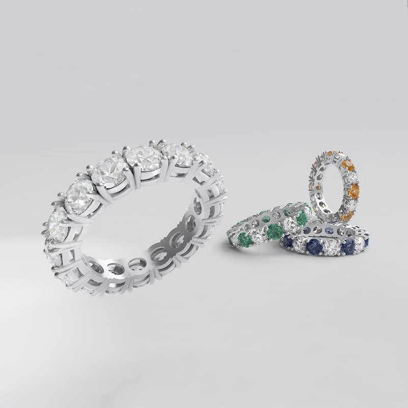 diamond line ring 3D