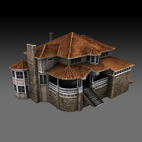 Old Luxury House low poly 3D model