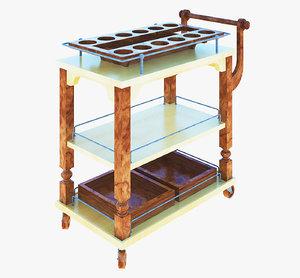 3D serving trolley model