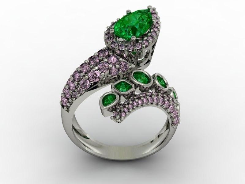 3D model emeralds ring