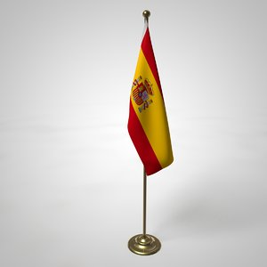 spanish flag pole 3D model