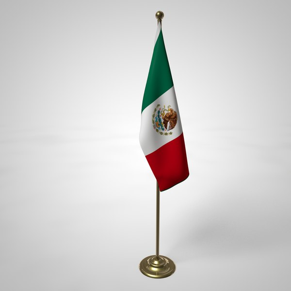 3D mexico flag pole model
