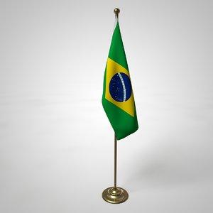 brazil flag pole 3D model