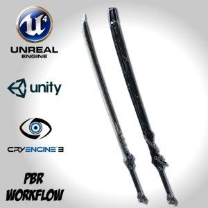 3D dark long blade remake model