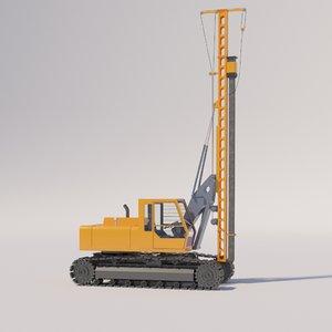 pile driver machine 3D model