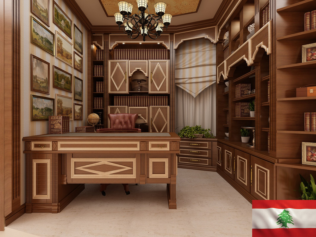 3D library interior office