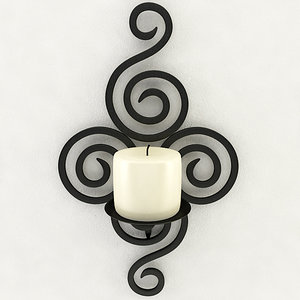 wallmounted iron candle holder 3D