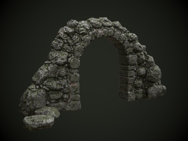 3D mossy stone arch games model
