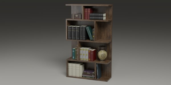 photo realistic book-shelf books 3D model