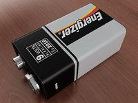 3D model 9v battery
