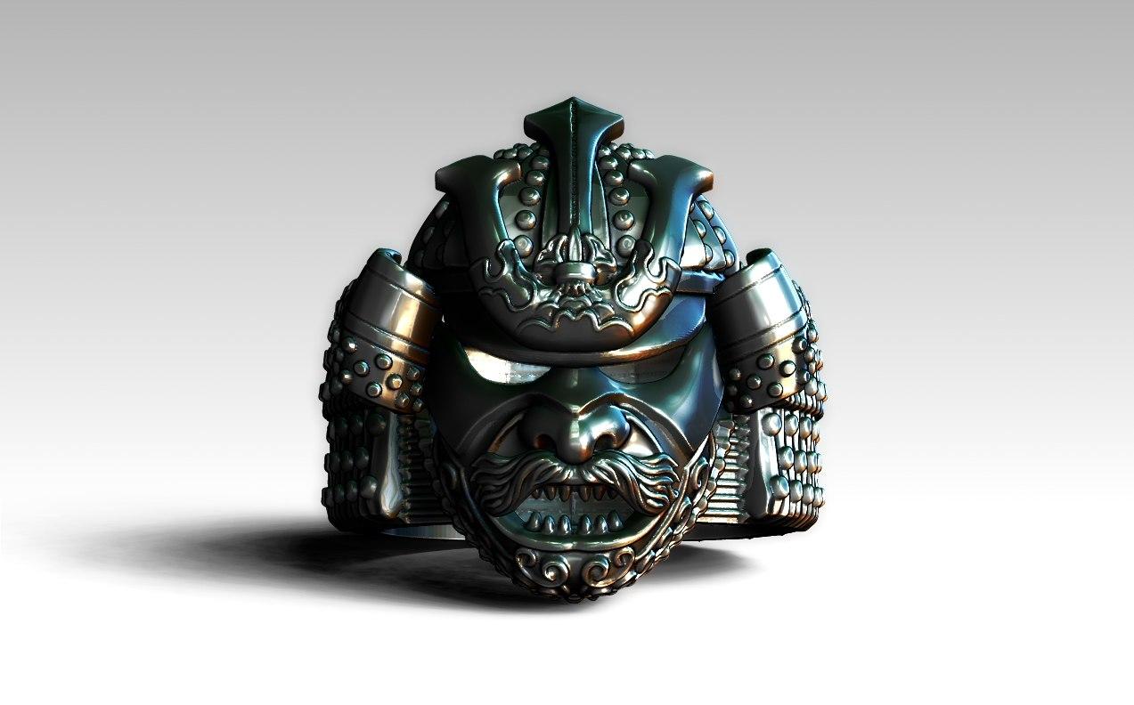 3D ring samurai helmet model