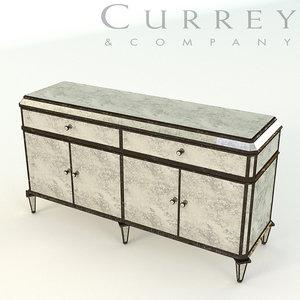 3D currey antiqued mirror credenza