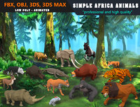 Low Poly Big Collection Animals Africa Cartoon - Animated