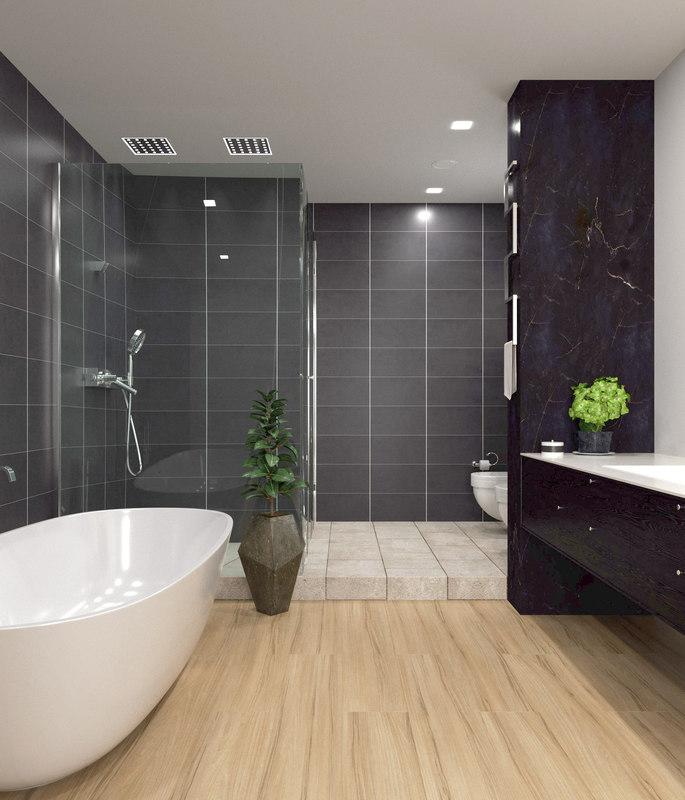 3D modern bathroom scene