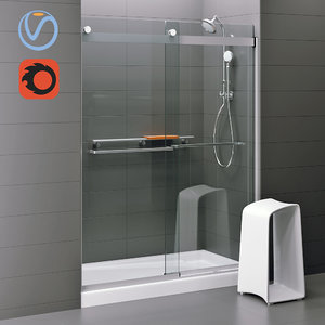 3D levity sliding shower door model