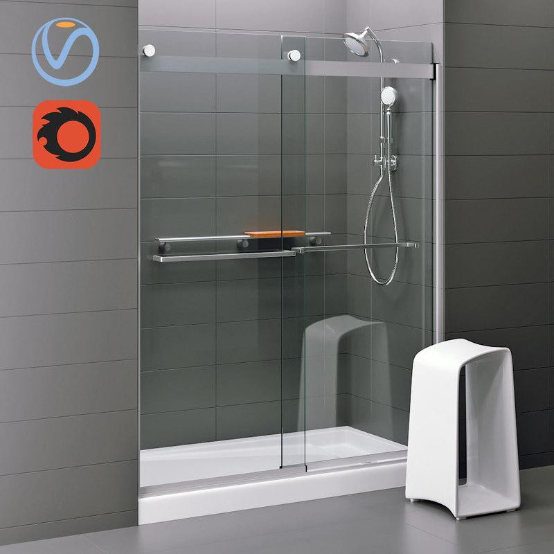 3D levity sliding shower door model