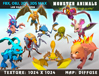 Low Poly Monster Cartoon Collection 01 3D Model - Animated