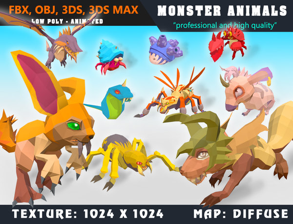 3D monsters cartoon - ready