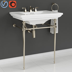 kohler console table bathroom sink 3D