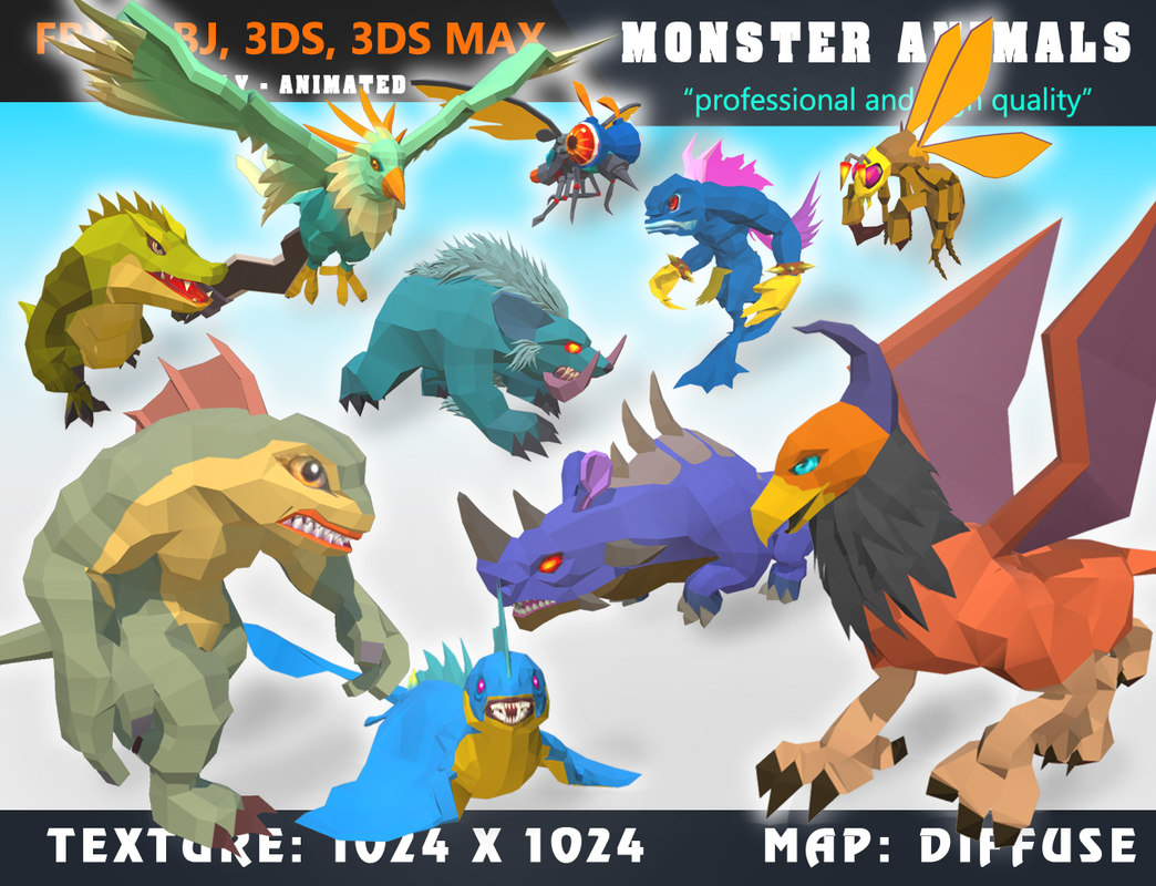 Low Poly Monster Cartoon Collection 06 Animated - Game Ready