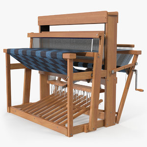 3D model wooden loom rug