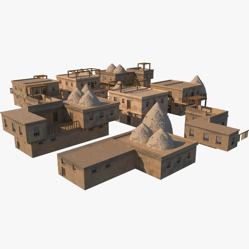 3D old syrian houses model