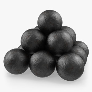 3D model old cannonballs
