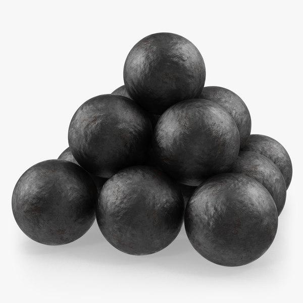 3D model old cannonballs