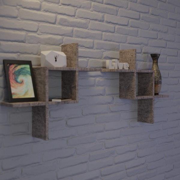 3D shelving scenes materials model