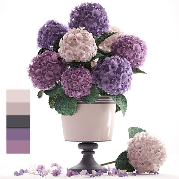 bouquet hydrangea 3D model