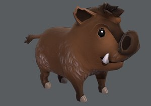 3D cartoon boar