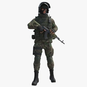 military male russian soldier 3D model
