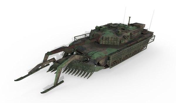 3D tank abrams mineplow extra