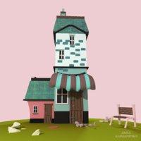 3D cartoon pink house