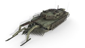 3D tank abrams mineplow extra model