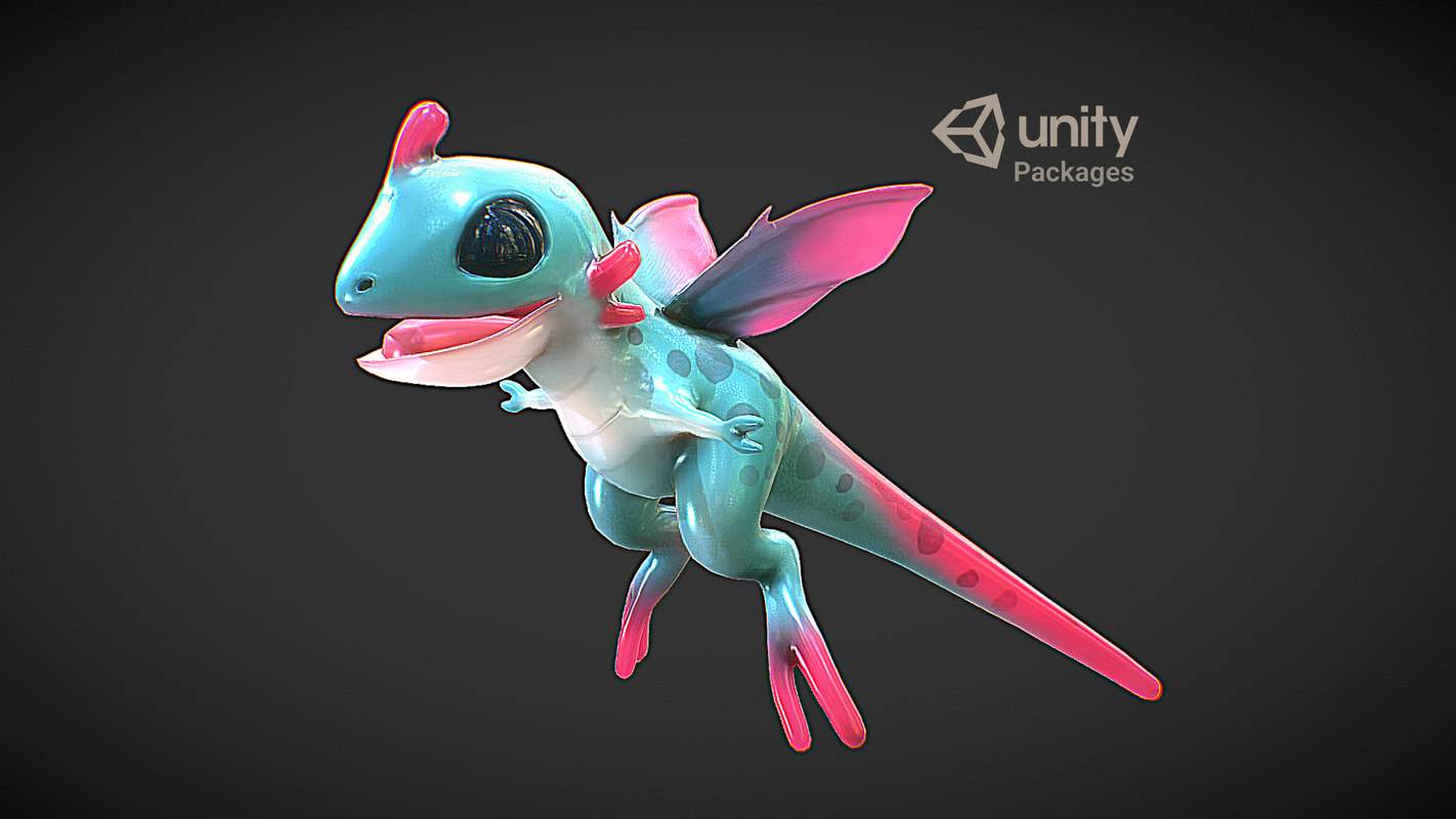 Dragon Character Rigged Blugon VR / AR / low-poly 3D model