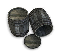 3D wood barrel old wooden