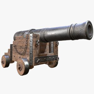 rigged pbr war cannon 3D model