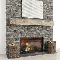 3D model fireplace stone