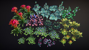 fantasy plants flowers 2 3D model