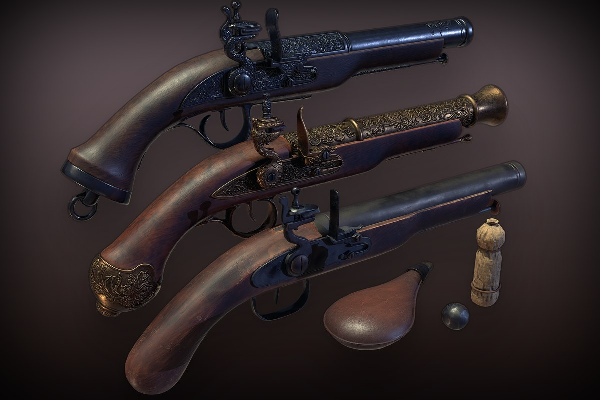 3D pbr flintlock pistols pack model