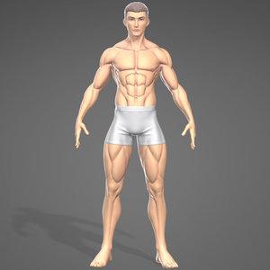 3D male stylistic base body muscle model