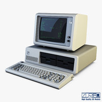 3D model ibm 5150 personal computer keyboard