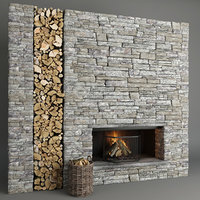 3D fireplace stone decor model