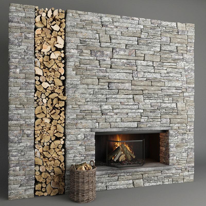 3D fireplace stone decor model
