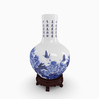 Chinese Blue and White Porcelain Vase with wood stand - Peony
