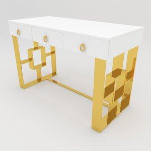 3D model audrey white gold desk